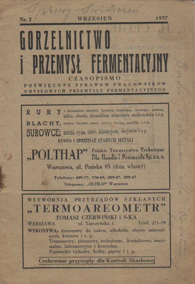 Gorzelnictwo i Przemylł Fermentacyjny nr 2 1937