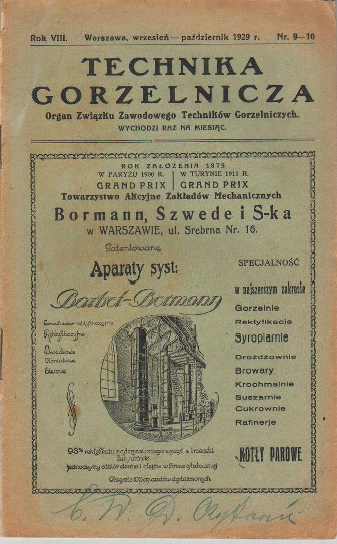 Technika Gorzelnicza nr 9-10 1929